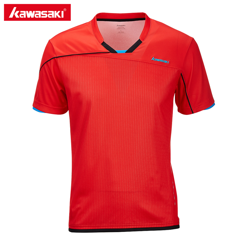 2018 Kawasaki New Arrival Sportswear Badminton Shirt Breathable V-Neck Tennis T-shirt For Men Quick Dry Short Sleeve ST-T1005 trendy round neck geometric printed short sleeve t shirt for men