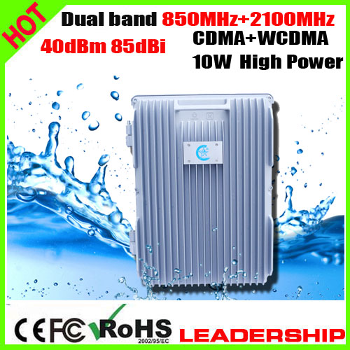 RF 10W Dual Band CDMA+WCDMA 3G 850mhz+2100mhz 40dbm 85dbi Mobile Phone Signal Repeater Booster F Farm Ship Tunnel Desert Use