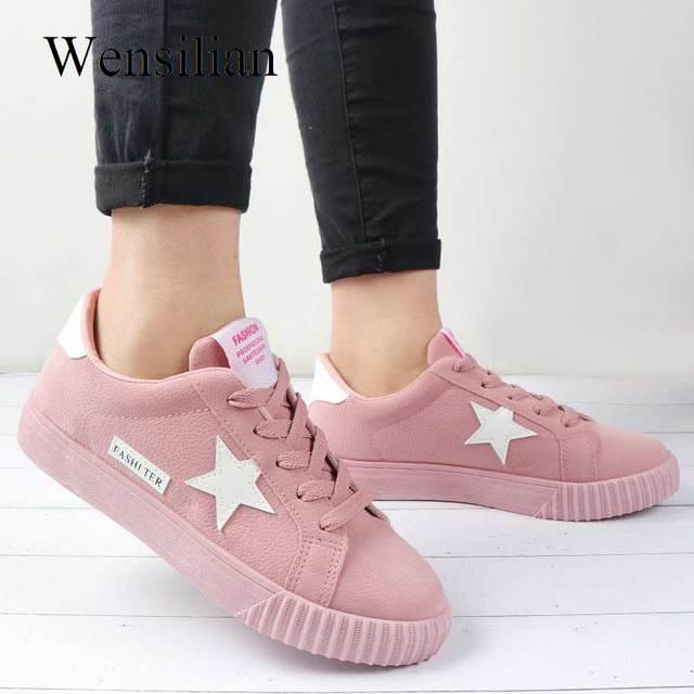 251511d15fc7 Vulcanized Shoes Sneakers Women Trainers Flock Stars Basket Femme Buty  Ladies Casual Shoes Black tenis feminino