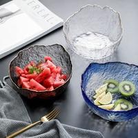 Glass Bowl Large Capacity Salad Bowl Fruit Bowl Home Tableware Dessert Mixing Bowl Irregular Section Gold
