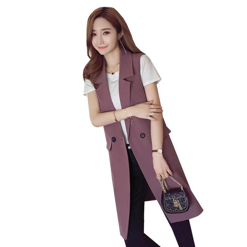 Neue Modemarke Frauen Weste Herbst Elegante Lange Weste Blazer Mantel Plus Größe Büro OL Dünnen Sleeveless Jacke Outwear SF352