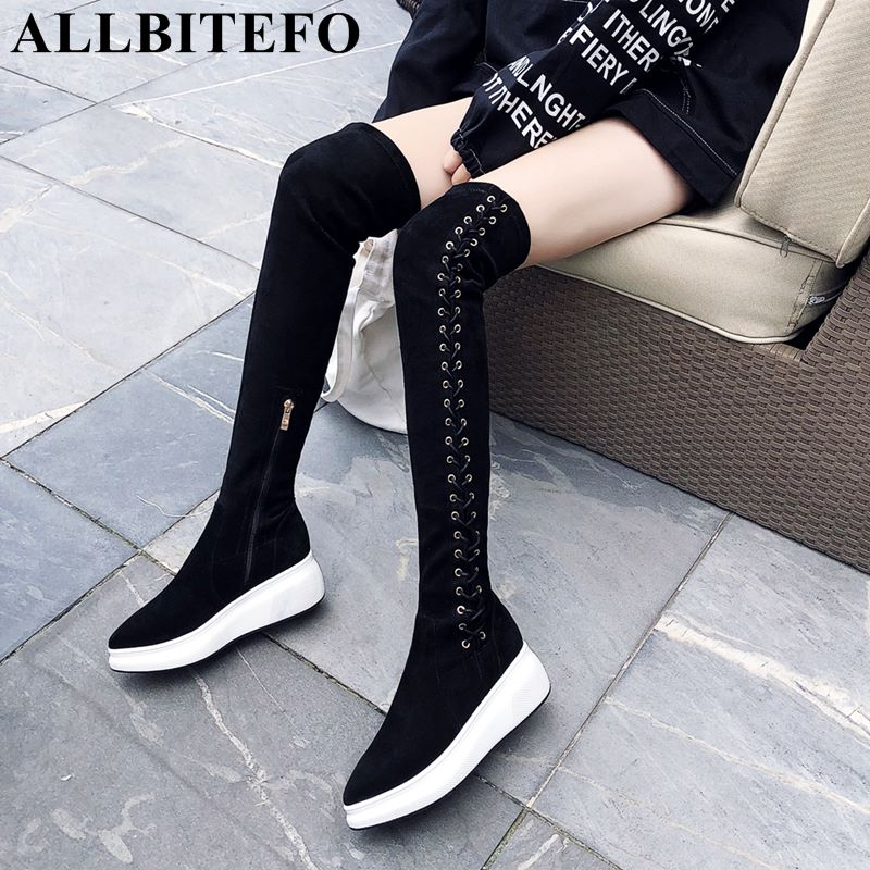 ALLBITEFO hot sale genuine leather+flock wedges heel platform women boots over the knee high boots winter snow warm girls shoes women shoes wedges platform knee high boots winter snow booties slip on flock rubber women boots black plush warm soft shoes