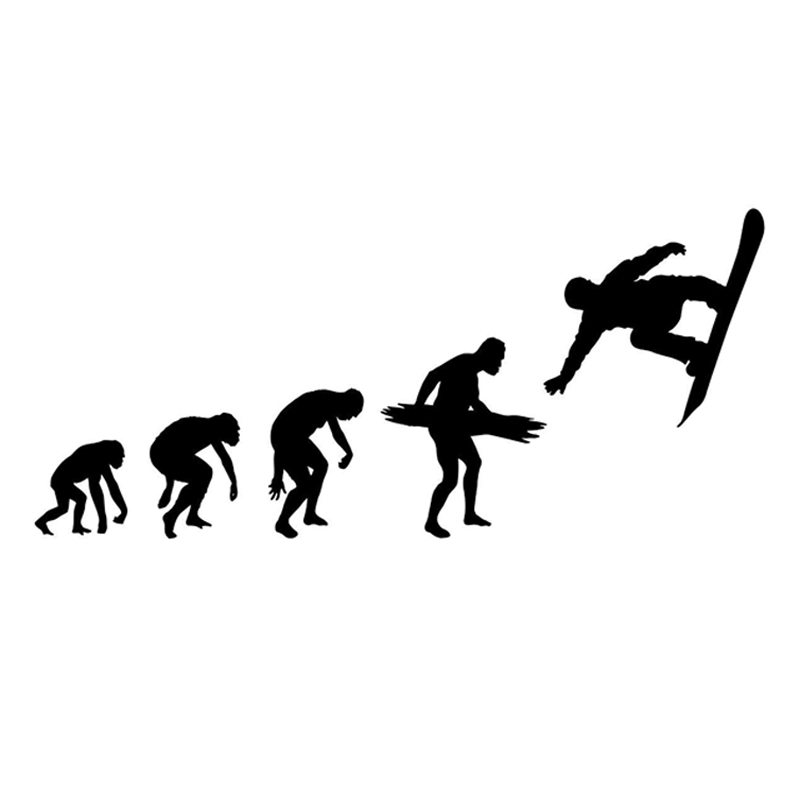 17.6cm*7.9cm Fashion Snowboarding Evolution Extreme Sport Vinyl Car Stickers Silhouette Decor S9-1012 Spare No Cost At Any Cost