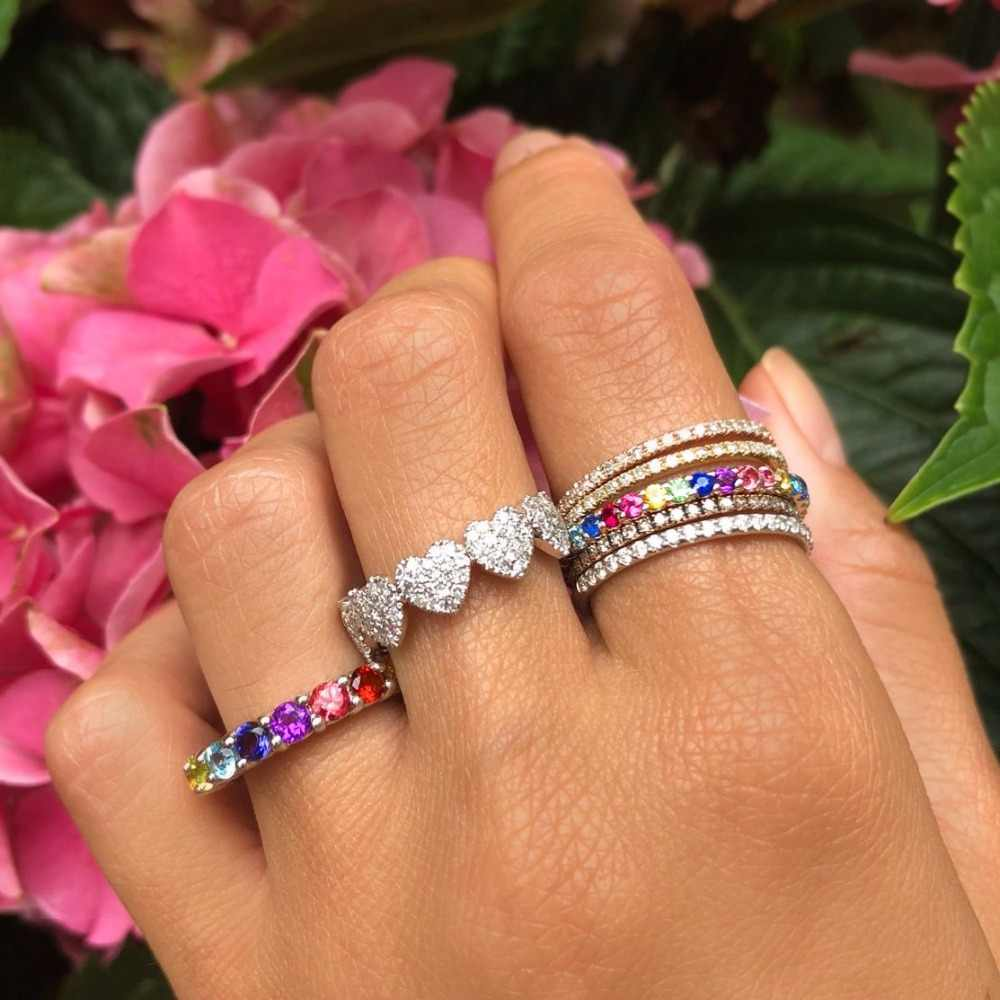 Europese 2018 nieuwe aangekomen hot selling rainbow cz eternity ring band Gold filled 925 sterling zilveren cz ringen Maat 6 7 8