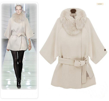 Fashion Runway Style Woolen Jacket with Faux Fur Hood, Three-quarter Sleeve Women Wool Jacket