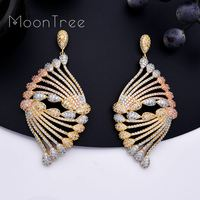 MoonTree 68mm Fashion Luxury Peacock Tail Flower Micro AAA Cubic Zirconia Copper Party Women Dubai Drop Earring Wedding Jewelry