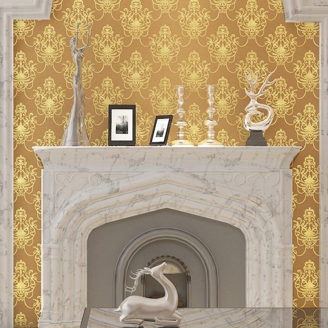Jaune 3d En Relief Feuille D Or Papier Peint Pour Les Murs 3 D Salle