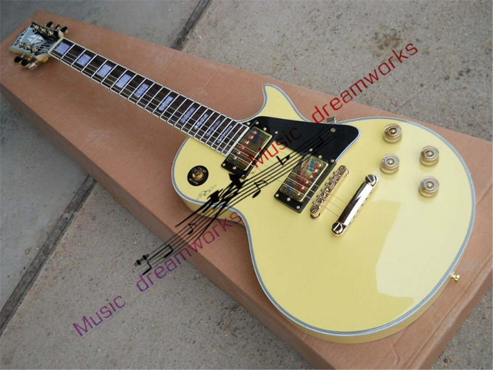 China firehawk guitar LP CUSTOM Electric guitar ,a piece of wood of the neck, the high quality of the guitar best price of the white lp standard electric guitar china with bigsby rosewood fretboard guitar free shipping