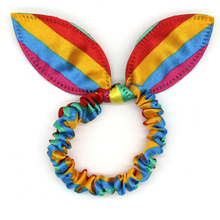 12pc/set Cute Dot Striped Rabbit Bunny Ears Elastic Hair Bands For Women Girls Colorful Rainbow Rubber Band Headband Accessories