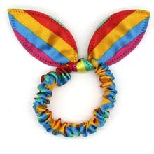цены на 12pc/set Cute Dot Striped Rabbit Bunny Ears Elastic Hair Bands For Women Girls Colorful Rainbow Rubber Band Headband Accessories  в интернет-магазинах