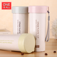 ONE IS ALL SB17016 Wheat Straw Plastic Cup Female Students With Rope Water Bottle Protect Coffee Mug As Gift Two Capacity