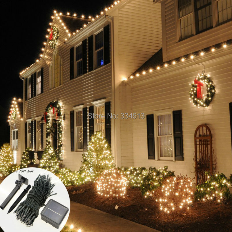 Solar Powered PVC Wire 10M 100LEDs 33FT Outdoor Dimmable String Lights Shop Stair Starry Lamp Decor Holiday Curtain Lighting ...