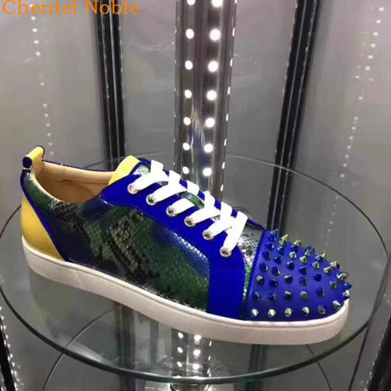 2018 Chentel Noble New Leather Rivet Spiked Leisure Shoes Walking Sneaker  Outdoor Sports Shoes For Men 0a9d5b45bb78