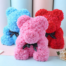 Valentine's Day 25cm  Artificial Flowers Rose Bear Multicolor Rose Flower Teddy Bear  Gift Birthday Party Wedding Decoration