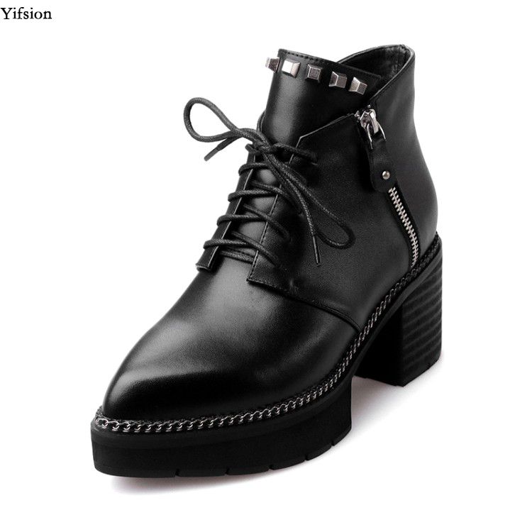 Olomm New Women Leather Ankle Boots Sexy Rivets Comfort Square Heels Pointed Toe Black Grey Club