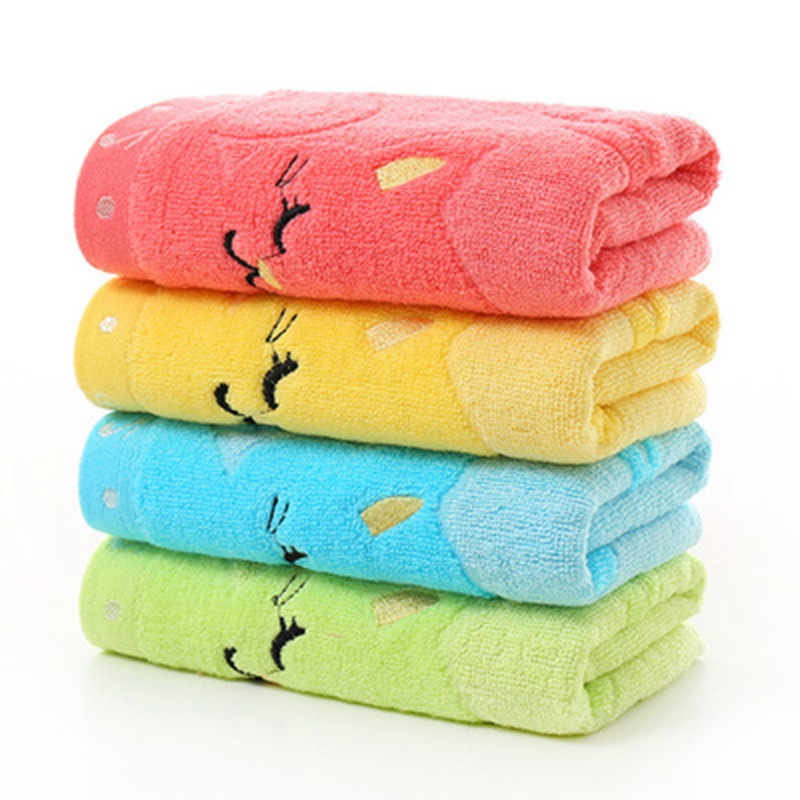 Small Towel 25*50 Cartoon Baby Towel Children/'s Jacquard Embroidery Notes Cat