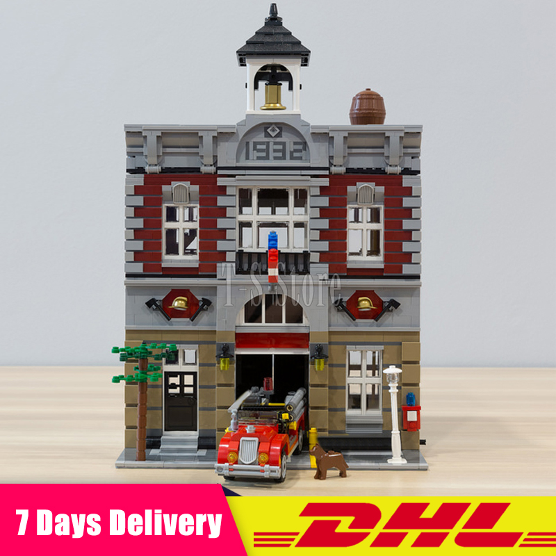 Moc 10197 DHL IN Stock LEPIN 15004 2313Pcs Fire Brigade City Street Model Building Blocks Bricks Figures Modular Set Gift Toys dhl more stock 2705pcs lepin 15013 city street carousel model building blocks bricks intelligence toys compatible with 10196