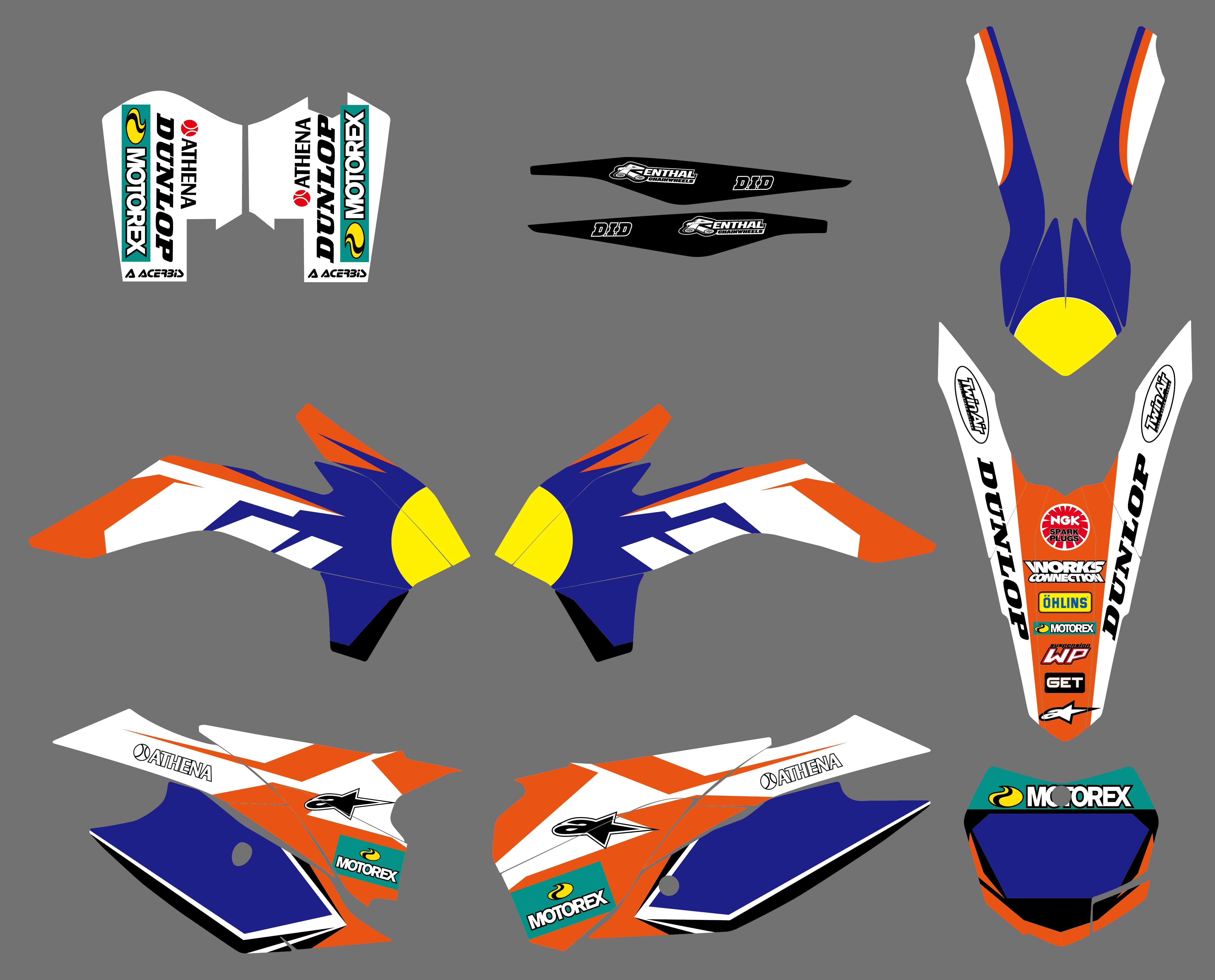 NICECNC Equipe Gráfico de Fundo Decalques Autocolantes Kit Para KTM SX SXF XC XCF SX-F XC-F 125 150 200 250 300 350 400 450 2013-2015