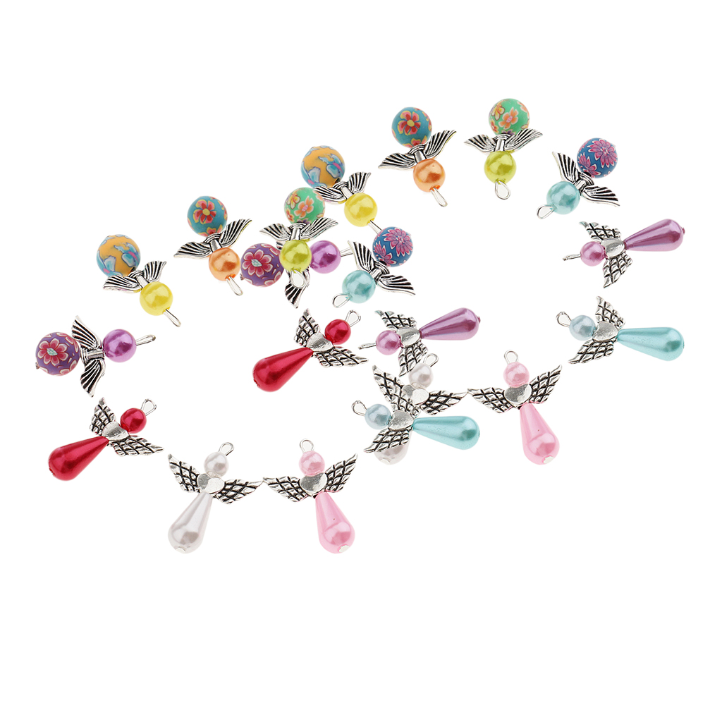 7Pcs Crystal Mixed Colors Angel Wing Charm Pendant for Necklace Wholesale
