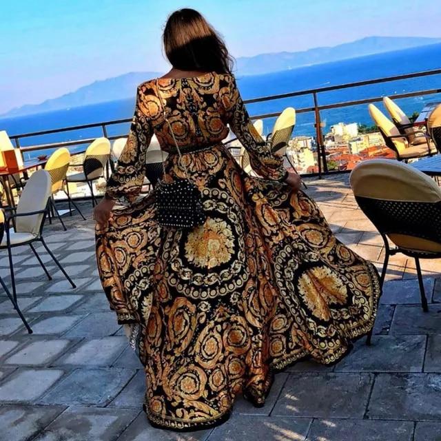 Women Sexy Glitter Deep V-Neck Print Dress High Waist Split Long Maxi Boho Style Dresses Long Sleeve Sexy Party Dress Vestidos