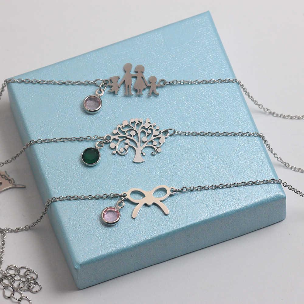 Legenstar 2019 pulsera de moda de acero inoxidable para mujeres Color plata amor familia Pulseira piedra de nacimiento brazalete Bijoux