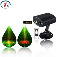 R-S-16 IR Remote Red Green Laser Light Blue LED Stage Light 16 Patterns Laser projection map disco light bar ktv dj lights