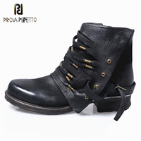 Prova Perfetto Winter Motorcycle Boots Vintage Knight Boots Genuine Leather Pleated Woman Shoes British Style Ankle