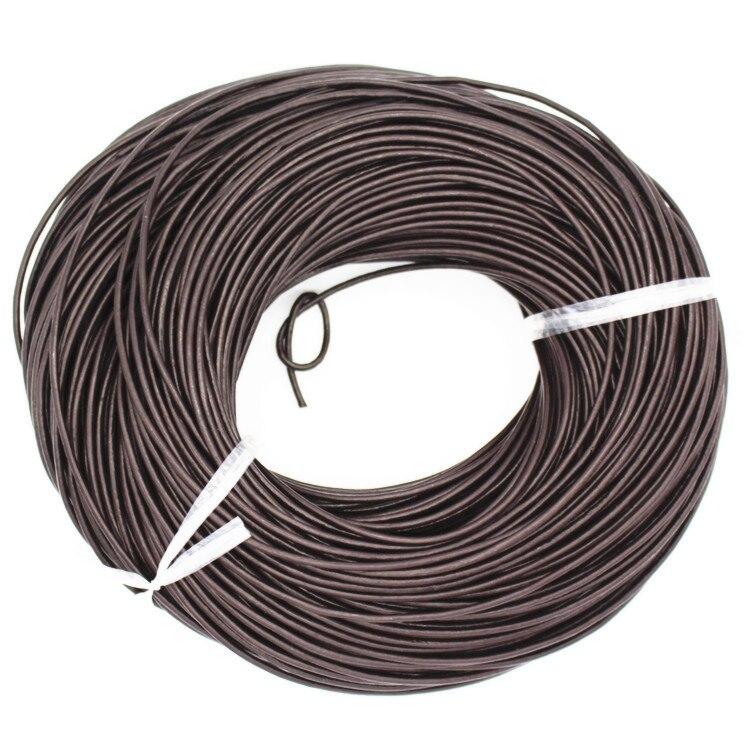 2 мм реального Oxhide Пояса из натуральной кожи шнур черный/коричневый Цвет круглый из натуральной кожи для Цепочки и ожерелья Браслет изготов...