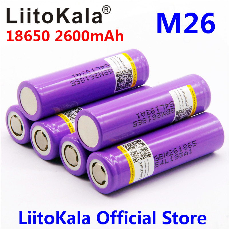 100% original LiitoKala for LG M26 18650 2600mah 10A 2500 li-ion rechargeable battery power safe battery for ecig/scooter цена