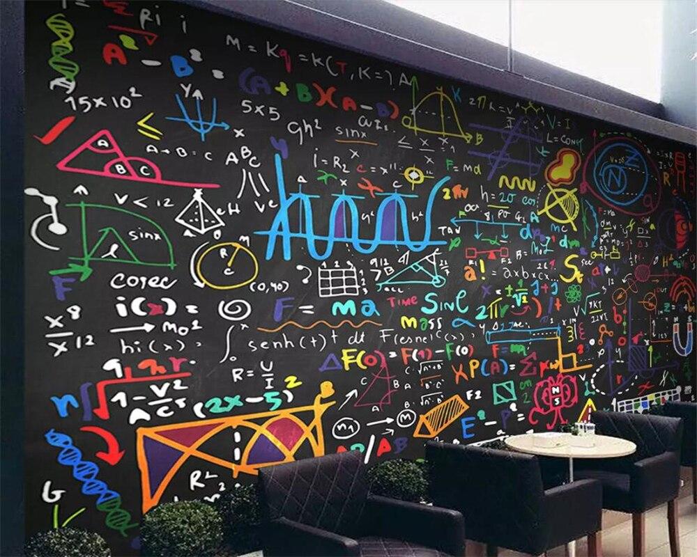 Parete Dipinta A Lavagna us $8.85 41% di sconto|beibehang carta da parati su misura di qualsiasi  dimensione di alta end dipinte a mano di colore gesso math formula lavagna