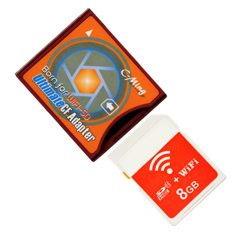 Nouveau!!! Carte SD WIFI 8 go carte mémoire SDHC + carte SD WiFi à Type II carte Flash compacte adaptateur CF ultime