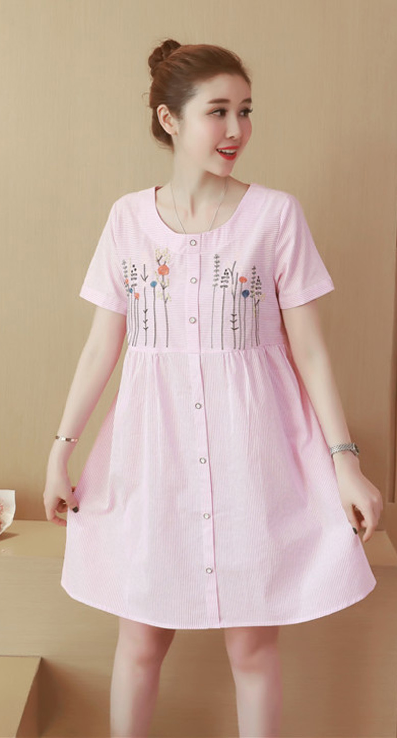 Compare prices on maternity wear dresses online shoppingbuy low womens o neck short sleeve embroider casual loose maternity wear pregnant dress size l xl ombrellifo Choice Image