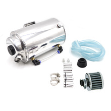 2L 2 LITRE ALUMINIUM POLISHED ROUND OIL CATCH CAN TANK WITH BREATHER FILTER Fuel Tank  YC100722 все цены