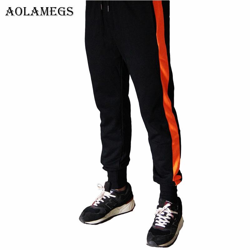 Aolamegs Pants Men Side Striped Hit Color Pants Elastic