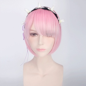 Image 2 - Re:Life In A Different World From Zero Graduated Ram Rem Cosplay Wig for Women Short Straight Pink Blue Anime Wig