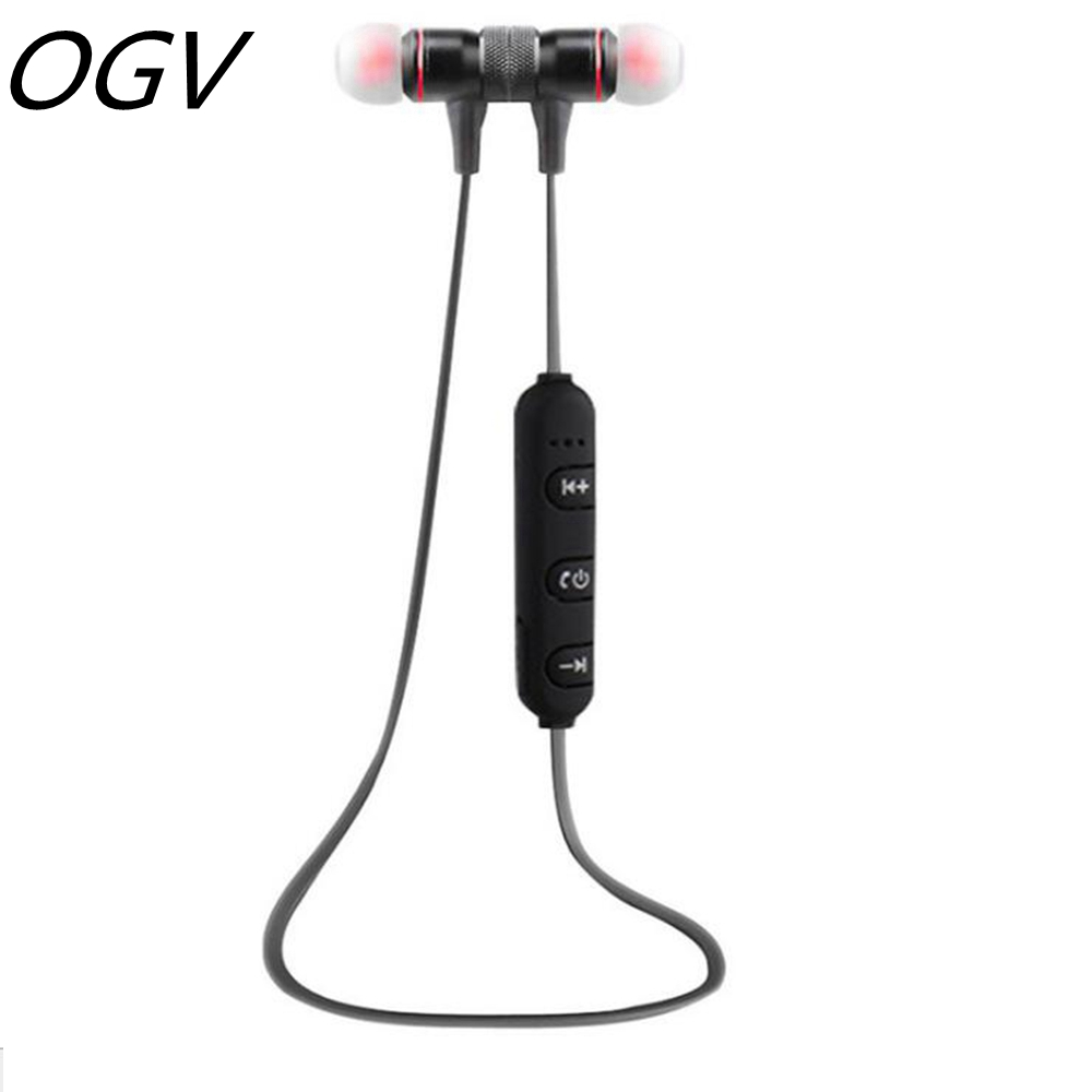 OGV Metal Magnetic Stereo Earbuds Wireless Bluetooth Earphones Sport Running Dj Bass Music Earphone Headsets With Mic