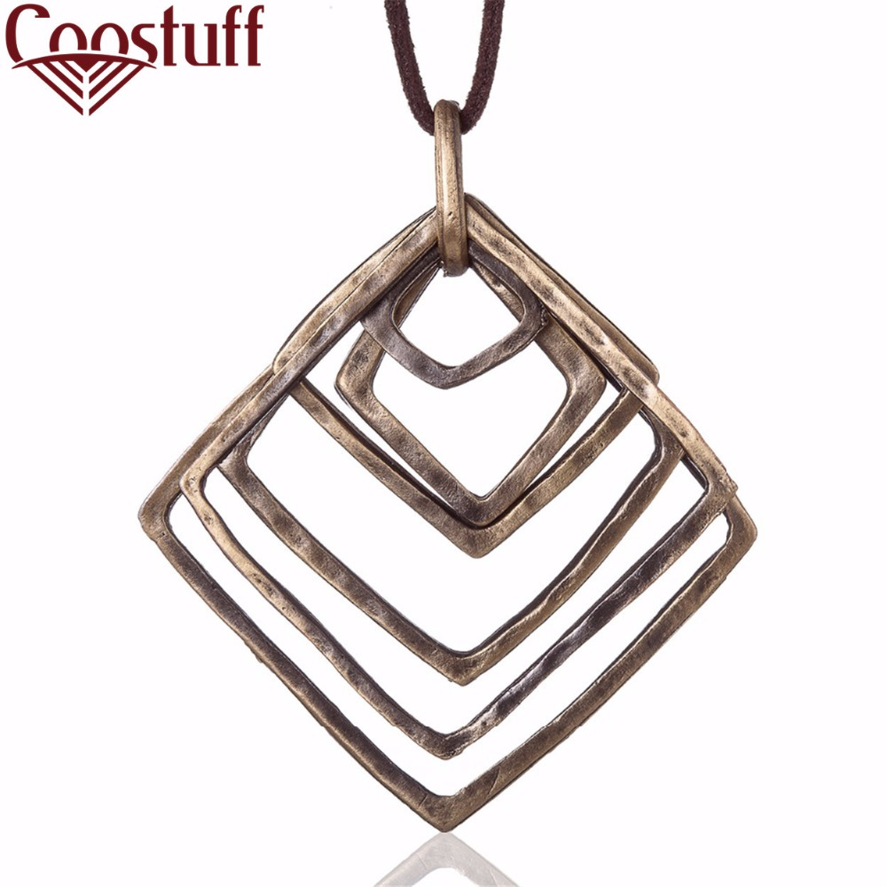 Woman statement necklaces & pendants vintage square pendant Long necklace women christmas gift collares mujer colar choker