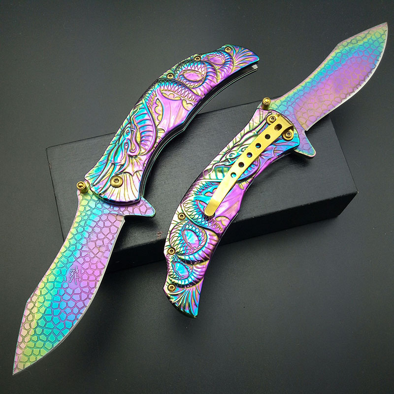 Tools : Dragon Rainbow Titanium Folding Pocket Knife Cosplay Fade Collection Graphic survival camping Knives utility  tactical knifes