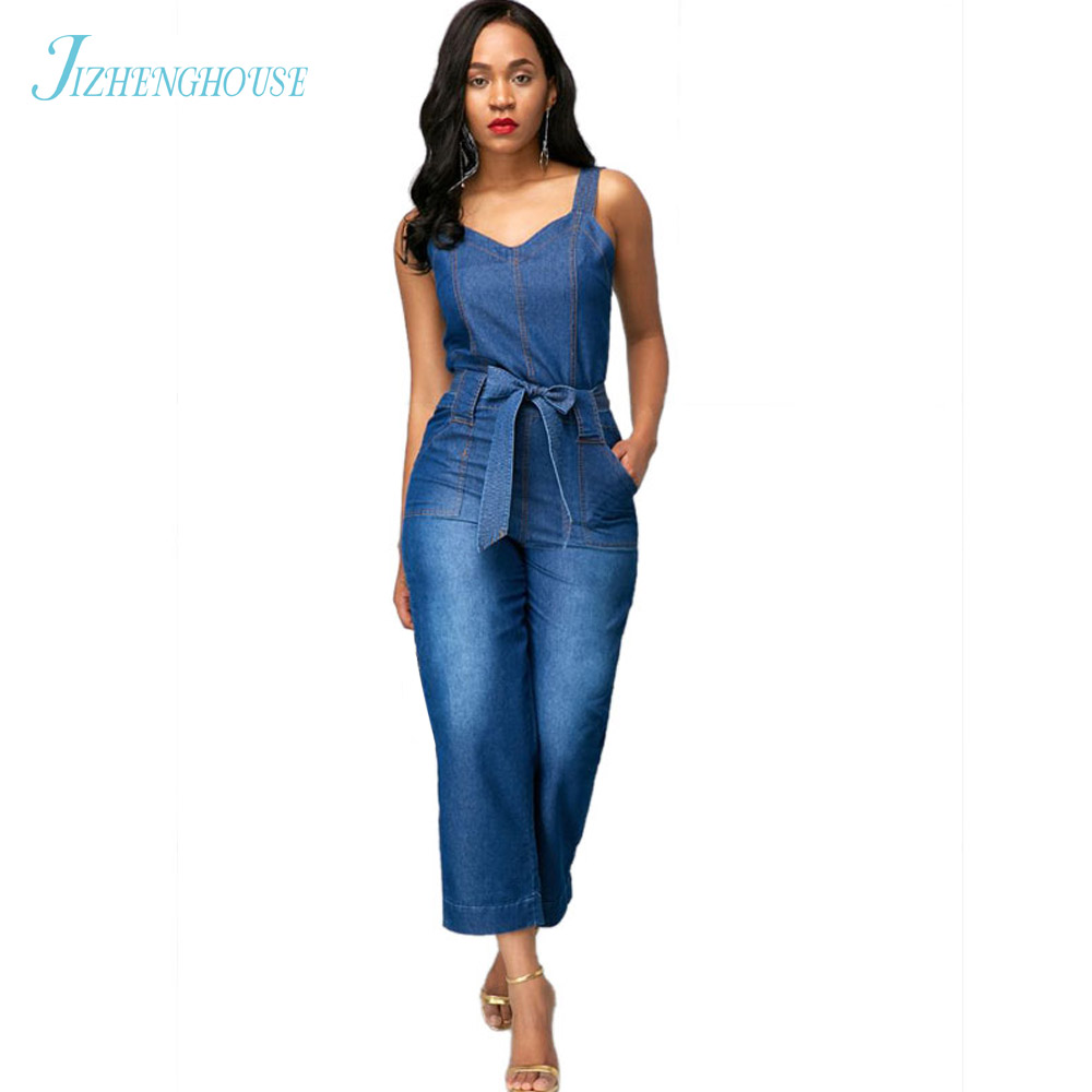JIZHENGHOUSE Jeans Women Jumpsuit Denim Romper Overalls Casual Long Trousers Denim Pants Wide Leg Rompers Female Jumpsuits