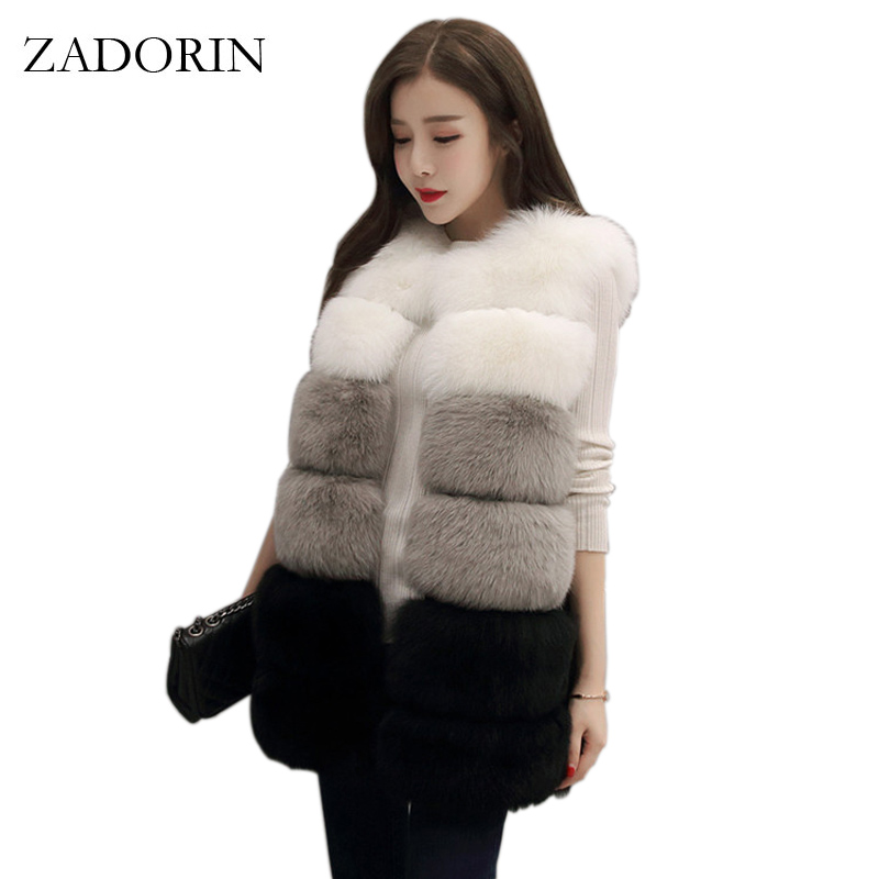 ZADORIN Colored Faux Fur Vest Women Faux Fur Coat High Quality Sleeveless Fake Fur Jacket veste