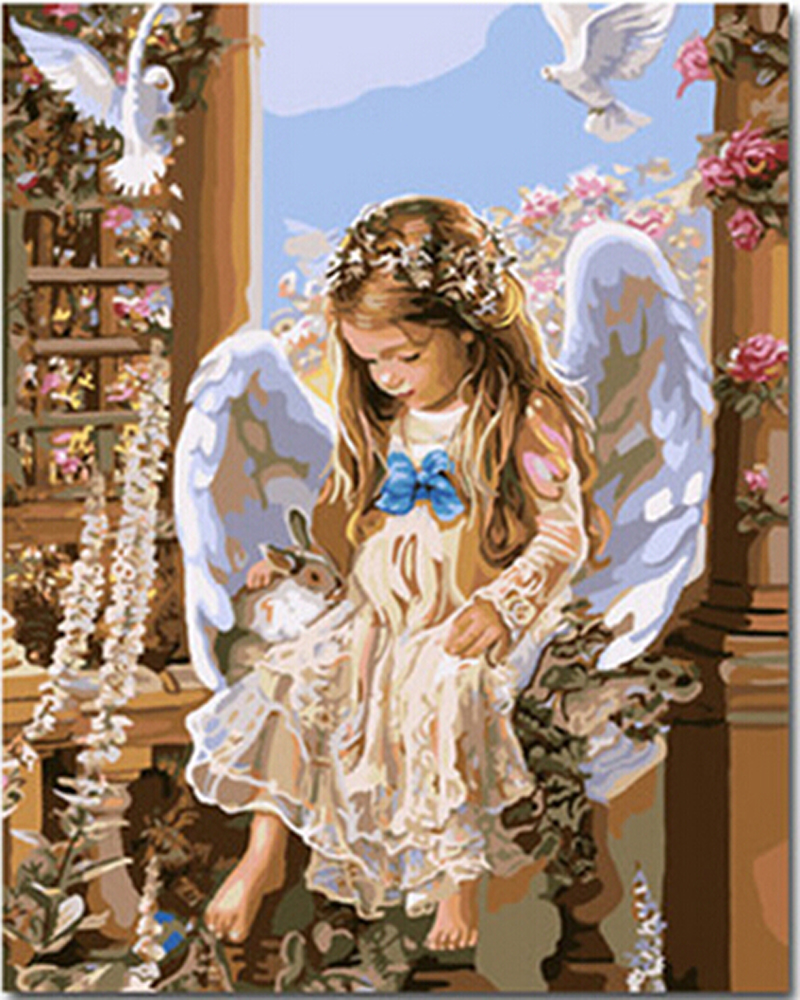 Angel Girl Piano Oil Painting By Numbers Portrait Acrylic Paint Wall Arts Decors