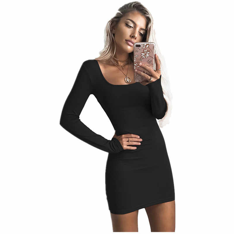 Long Sleeve Casual Bodycon Dress 2019 Summer Women Square Collar Sexy Black  Wine Red Dresses Female accabf595d07