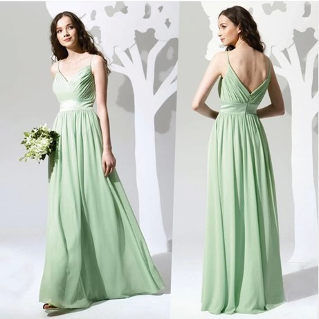 Buy seafoam bridesmaid dresses spaghetti for Light green wedding dress