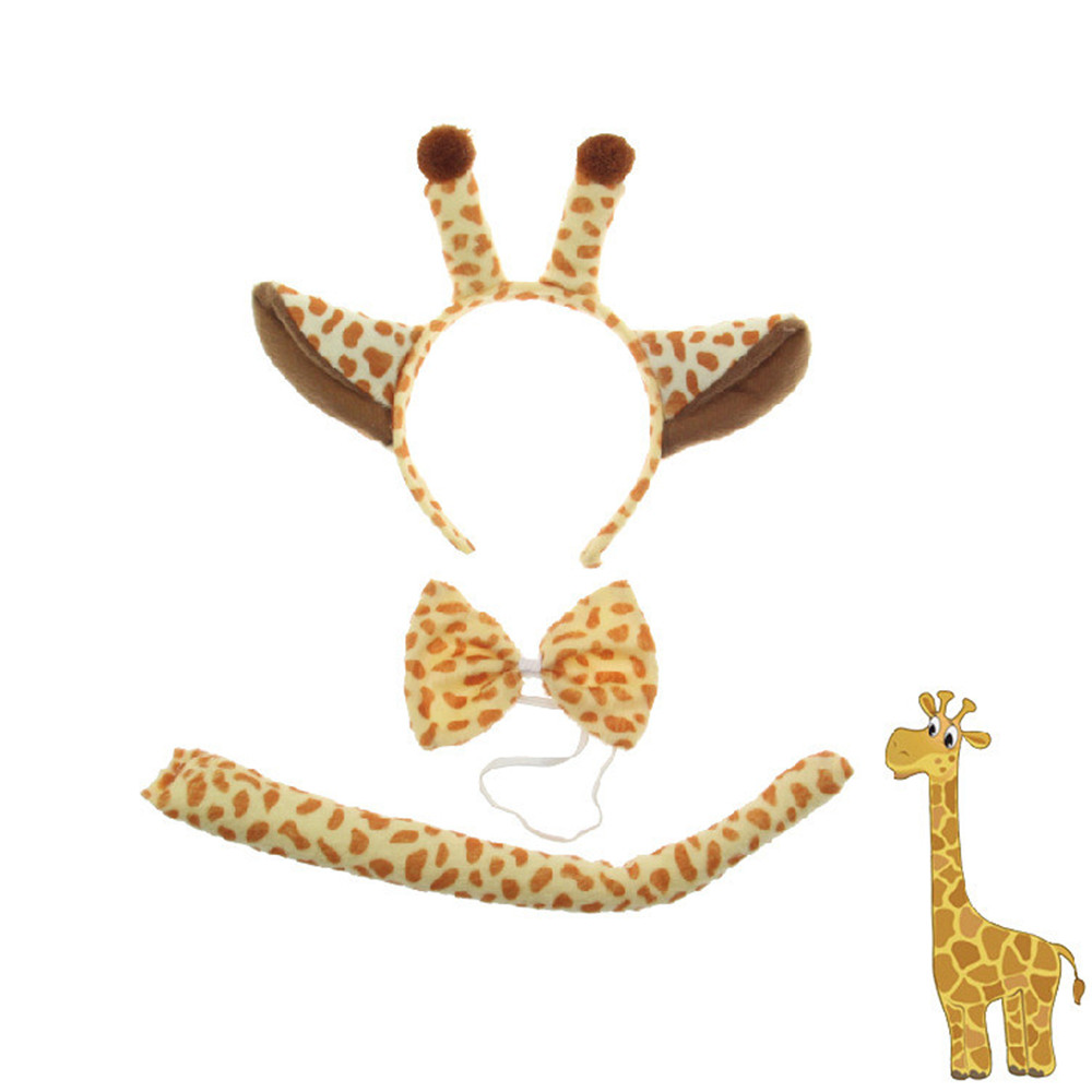 Adults Animal Little Giraffe Ear Headband Bow Tie Tail 3pcs set Cosplay Performance Accessories Party Dress Up Props