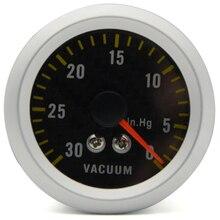 """"""" 52 мм Автомобильный вакуумный манометр аналоговый углеродное волокно лицо-30~ 0 дюймов. hg белый фоновый светильник"""