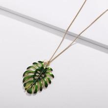 HUIDANG Fashion Branch Enameled Green Monstera Ceriman Plant Big Leaf Pendant Necklaces Women