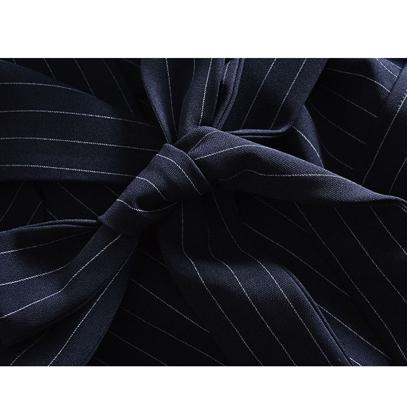 Nouveau Noir Col Vêtements Manteau Mode Printemps Bande Bulle down Taille Turn Windswear Réglable Femme Manches Coloration 2019 Long rT1Hqwr