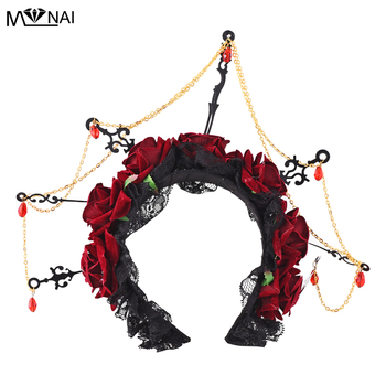 Gothic Crown Rose Flower Headband Clock Watch Hands Masquerade Headdress Halloween Black Veil Lace Retro Hair Accessories Punk