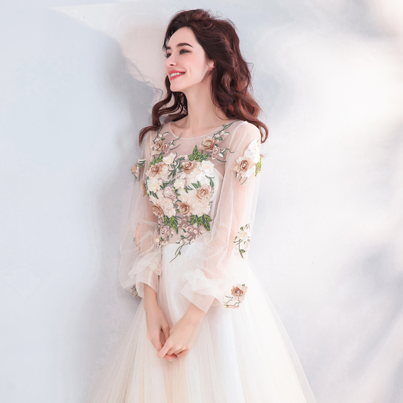ruthshen Fairy Long Prom Dresses 2019 New Light Champagne Illusion Appliques Long Sleeves Transparent Vestidos De Prom Gowns