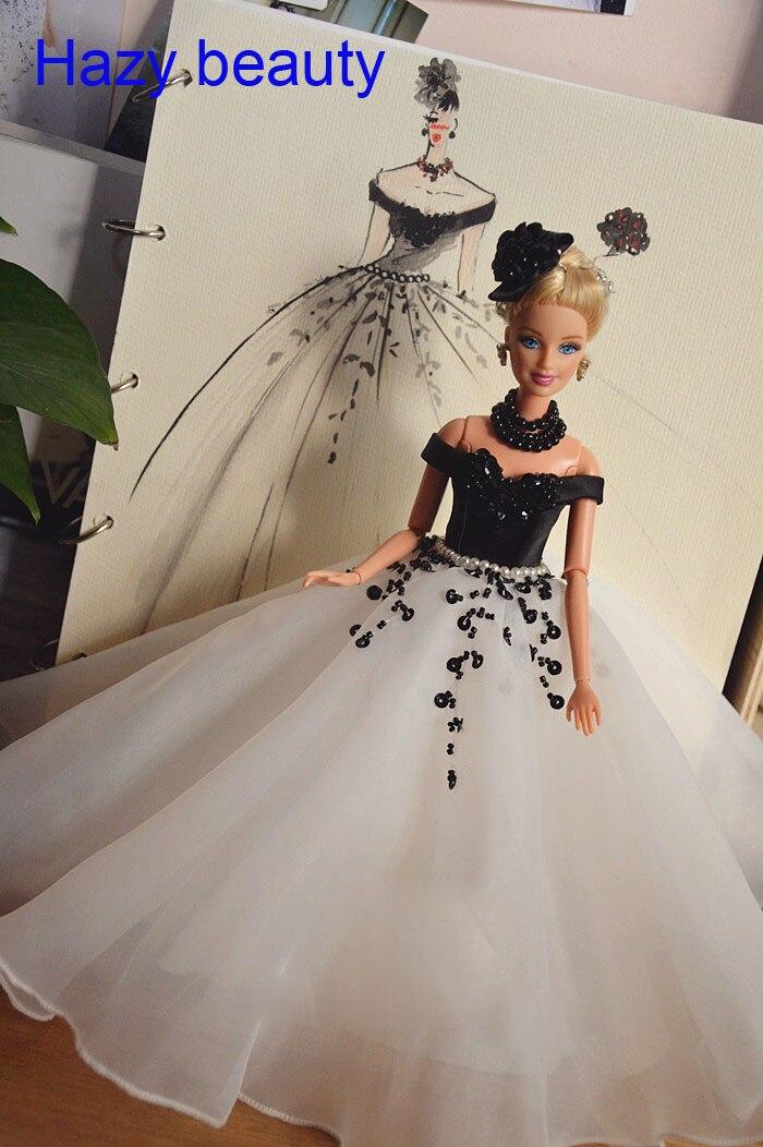 Hazy beauty Autonomous design handmade  dress Doll Accessories Evening Wedding Dress Clothes For Barbie Doll BBI268 autonomous design handmade gifts for girls doll accessories evening suit wedding dress clothes for barbie 1 6 doll bbi0048